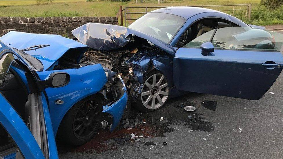 Connor Young crashed his car into Barry and Jennifer Fleming's Audi TT
