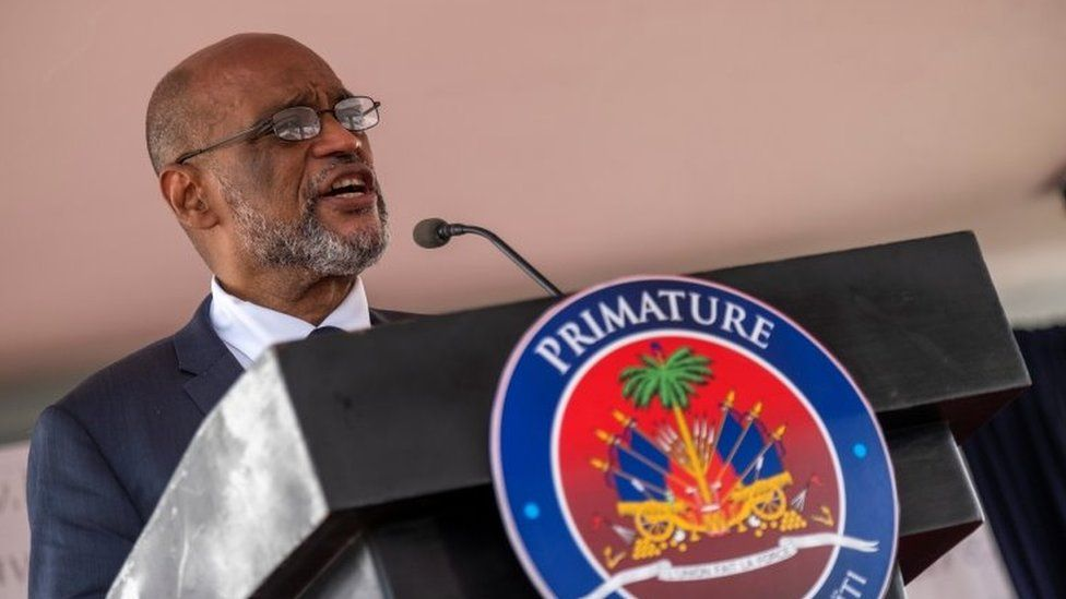 Ariel Henry speaks during his appointment ceremony as the new Prime Minister at La Primature in Port-au-Prince, Haiti July 20, 2021.