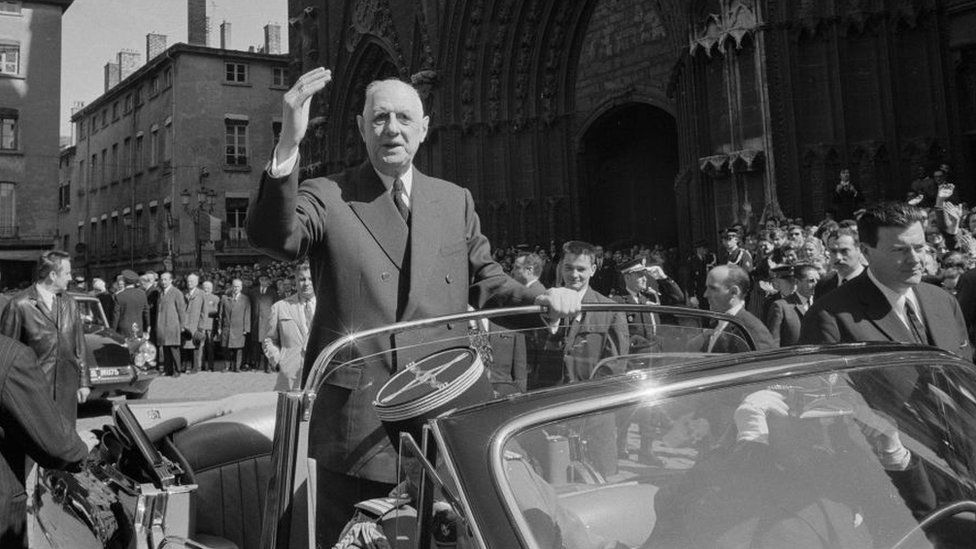 French President Charles de Gaulle, pictured in Lyon in 1968