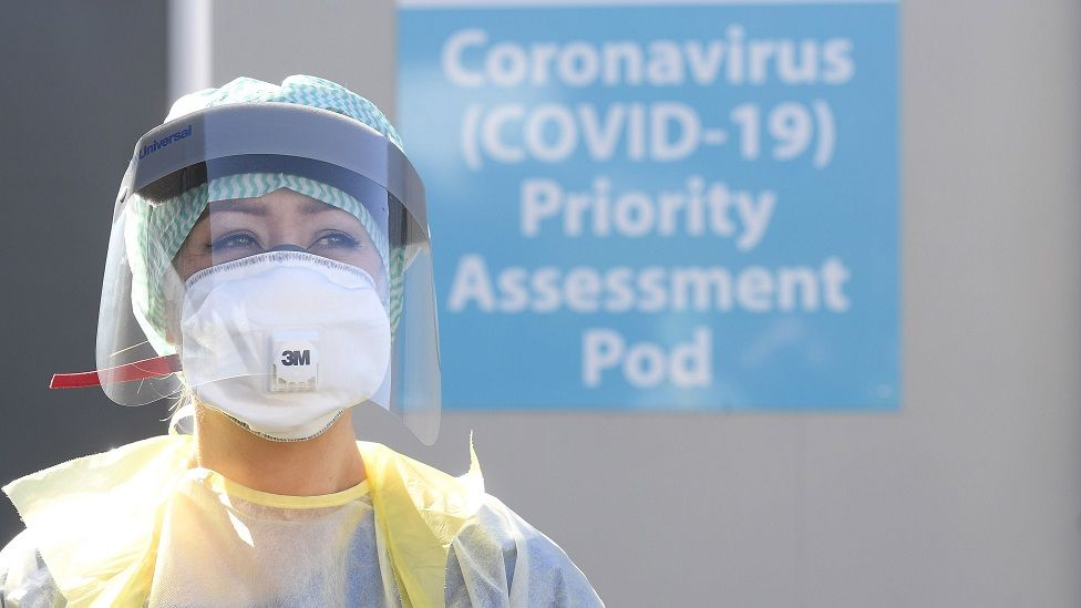File image of a nurse during a demonstration of the coronavirus testing procedures at Antrim Area Hospital, on 4 March