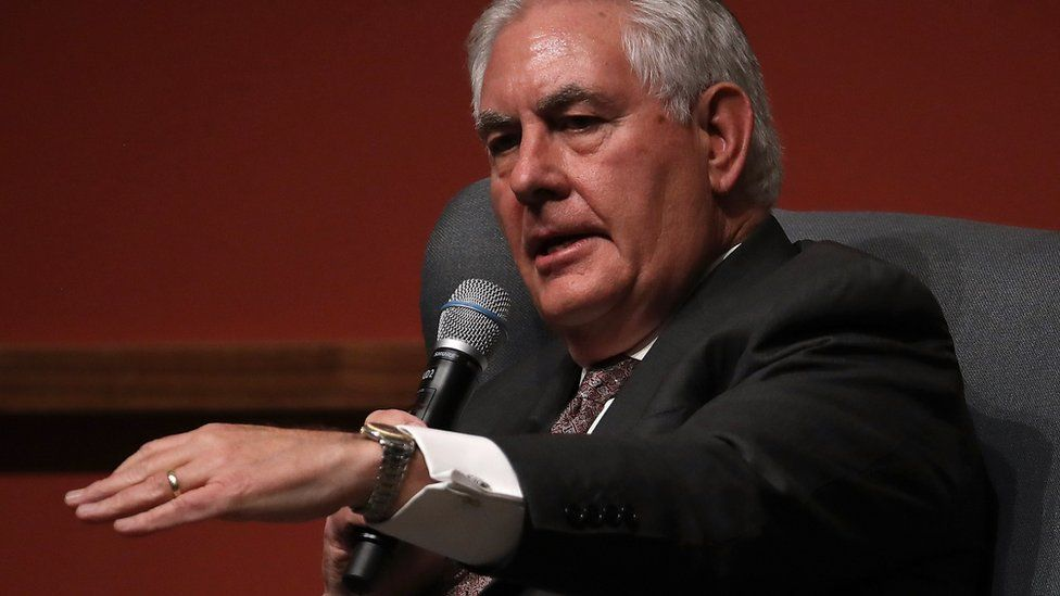 Rex Tillerson speaks to an audience at Stanford University's Hoover Institution on 17 January 2018