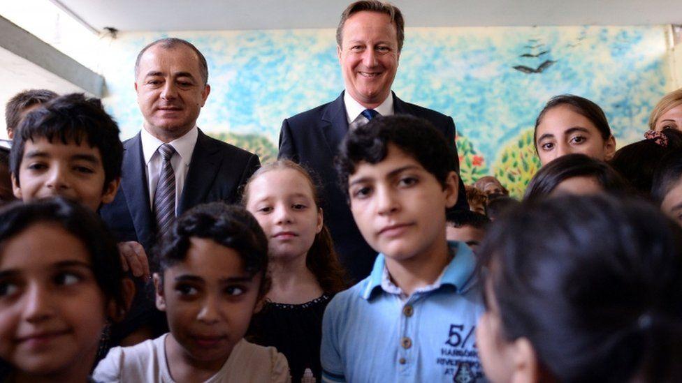 David Cameron at the Sed el Bouchrieh school in Beirut