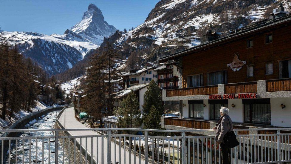 The Alpine resort of Zermatt, with the Matterhorn mountain, amid the Covid-19 outbreak