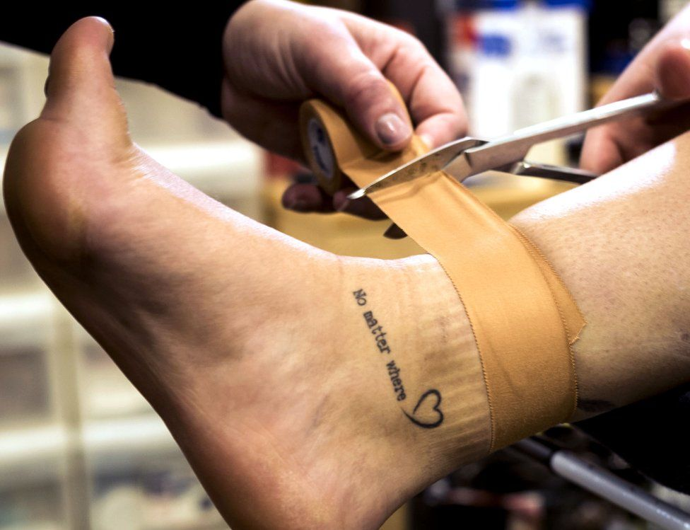 Strapping an ankle