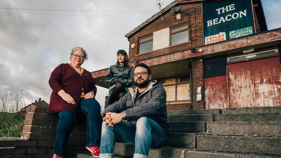Left-right: Playwright Lisa Holdsworth, author Adelle Stripe and director Kash Arshad outside Andrea Dunbar's local pub
