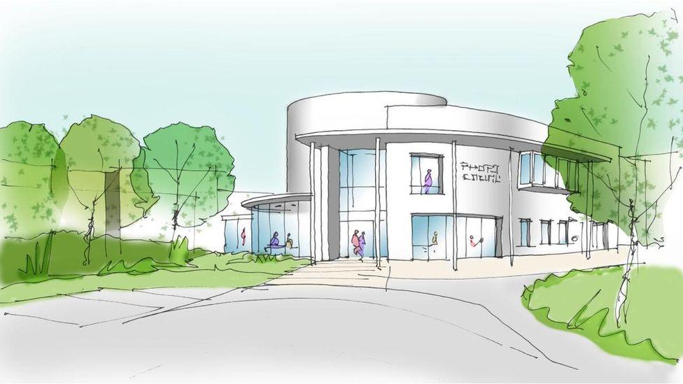 Artist impression of proposed mental health unit at Gwersyllt, near Wrexham