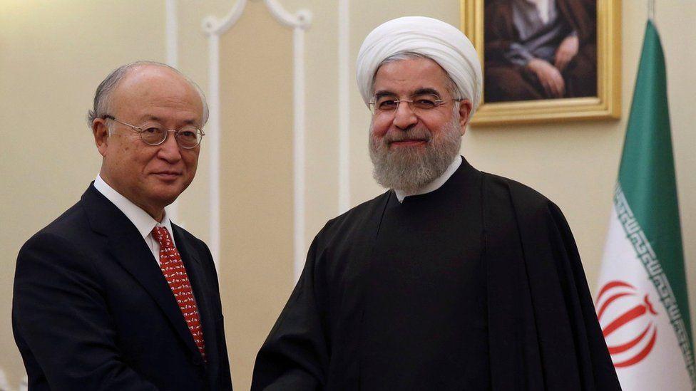 Head of the IAEA Yukiya Amano meets Iranian President Hassan Rouhani