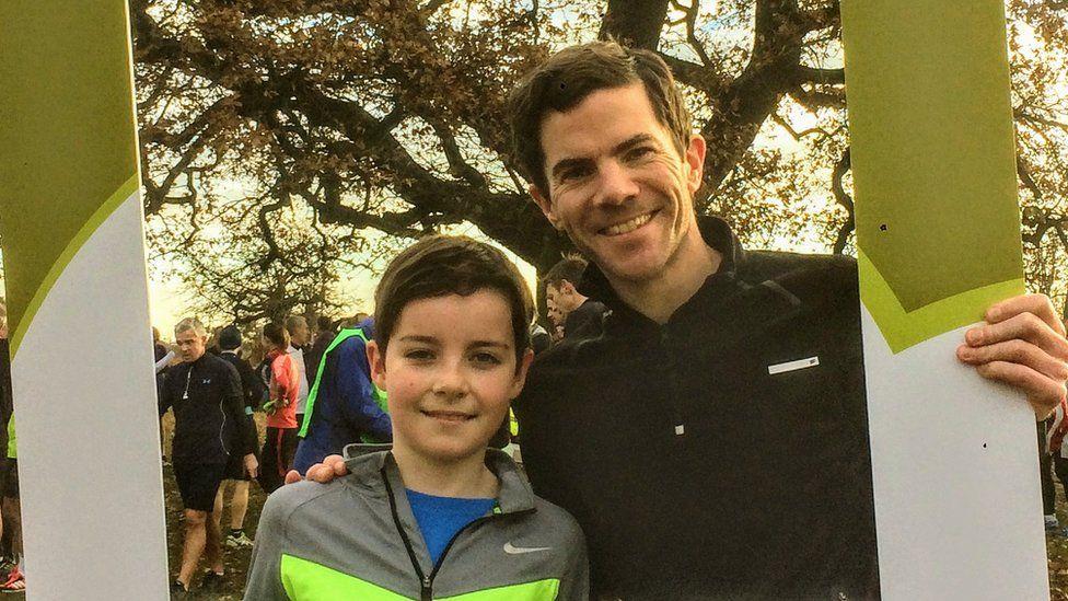 Owen Delaney and his Son at Bushy Parkrun