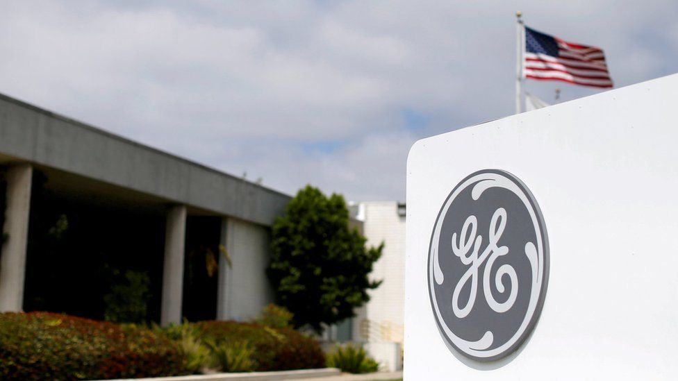 The logo of General Electric is shown at its subsidiary company GE Aviation in Santa Ana, California, U.S., April 13, 2016