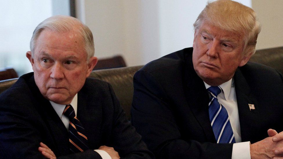 Donald Trump, right, with US Senator Jeff Sessions at Trump Tower, New York, 7 October 2016