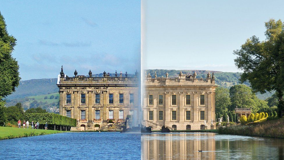Chatsworth before and after being cleaned