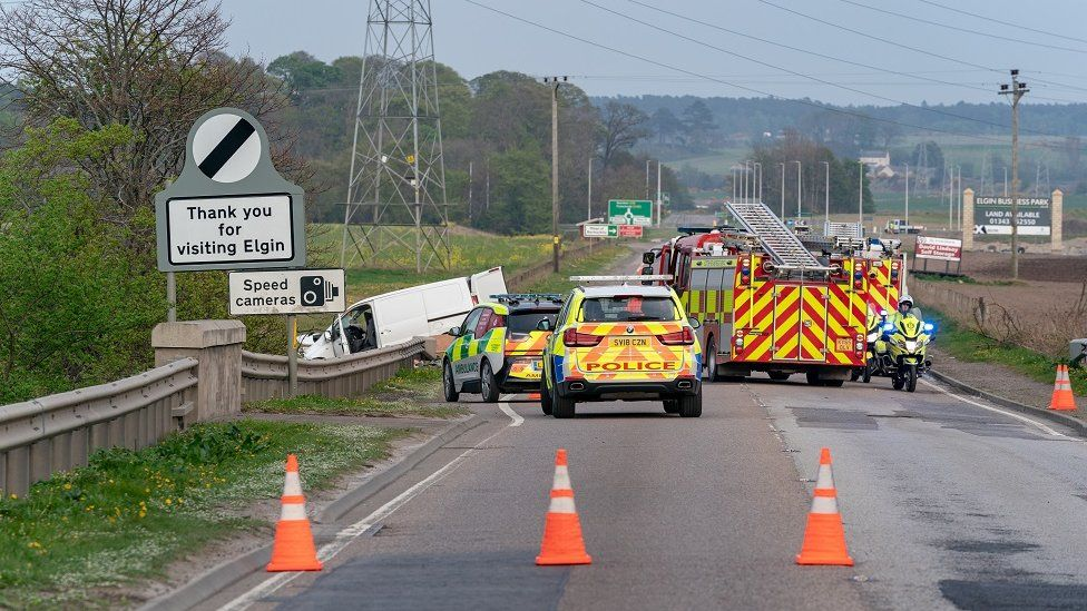 Road accident on the A96 near Elgin