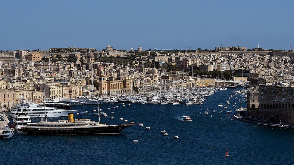A general view from St Peter's Bastion across Valletta's Grand Harbour, Malta