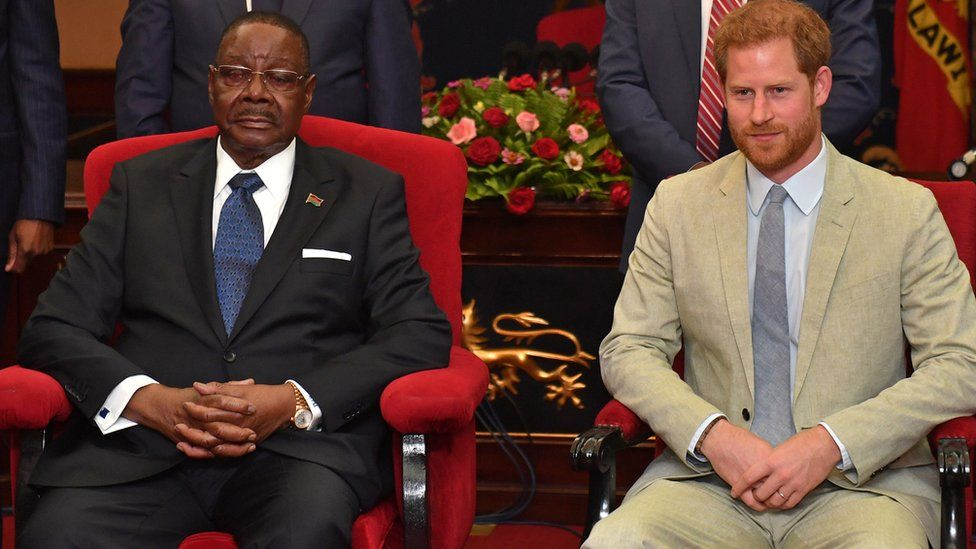 the Duke of Sussex (R) meets with Malawi's President Arthur Peter Mutharika (L) at the State House in Lilongwe, Malawi, 29 September 2019.