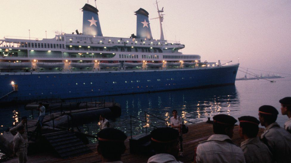 The Achille Lauro in Port Said, after being hijacked (October 1985)
