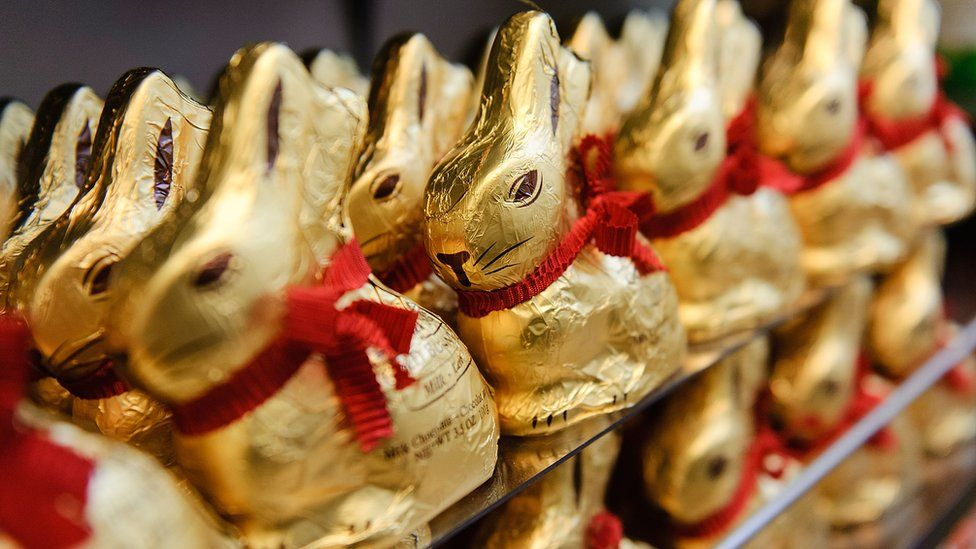 Rows upon rows of gold-wrapped chocolate Lindt bunnies are seen in this photo