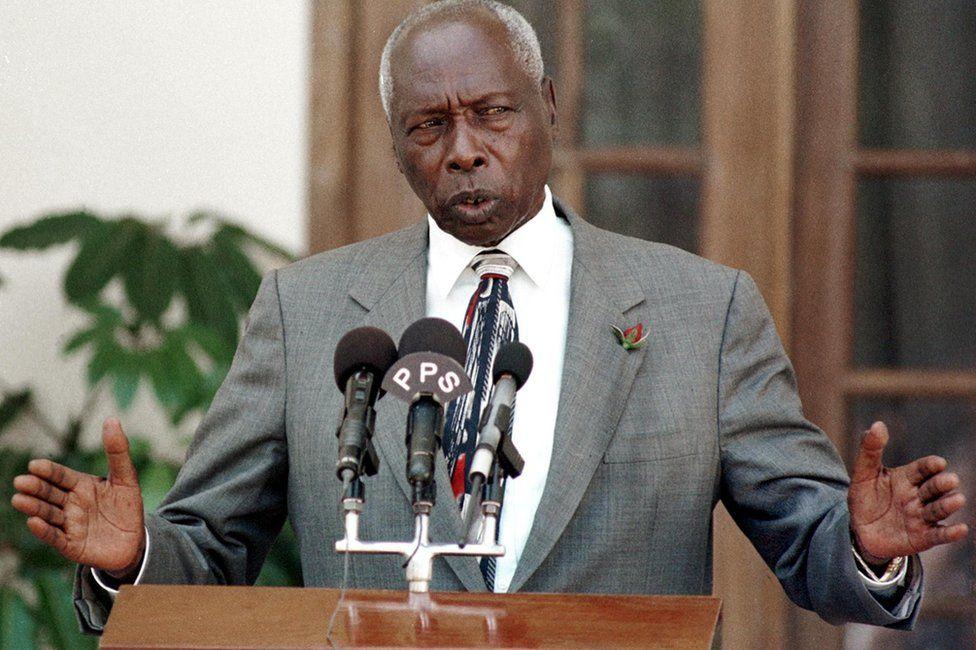 "In this file photo taken on February 03, 2000 Kenya""s President Daniel Arap Moi addresses the press in State House in Nairobi"