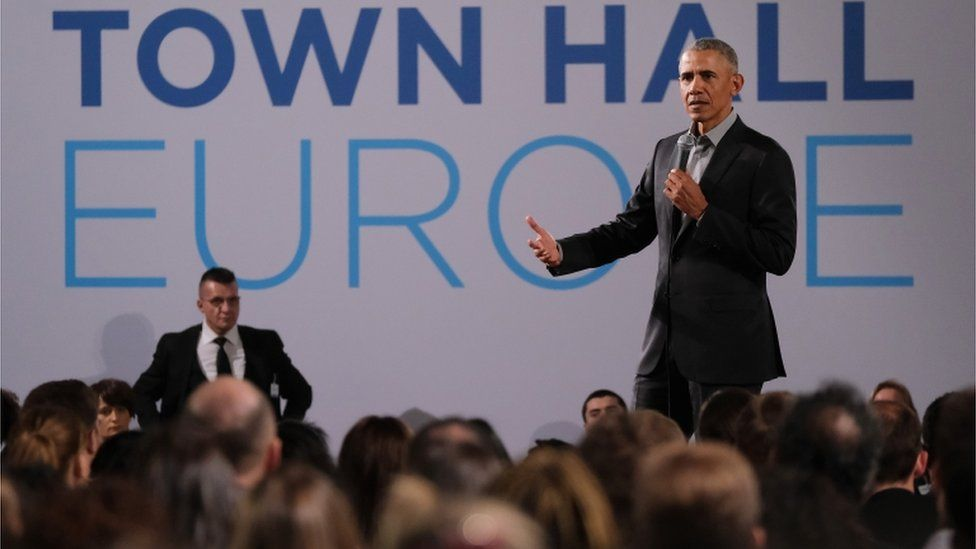 Former U.S. President Barack Obama speaks to young leaders from across Europe