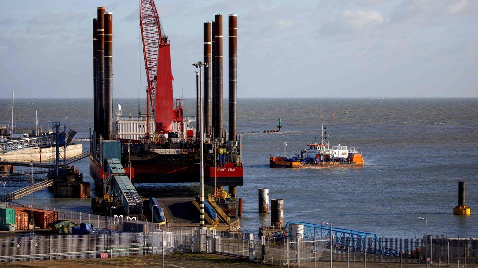 A dredger works to remove silt from the Harbour at the of Ramsgate, in Ramsgate,