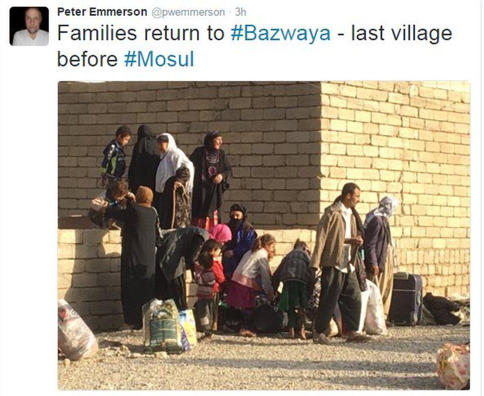 Tweet from Peter Emmerson reads: Families return to Bazwaya, last village before Mosul