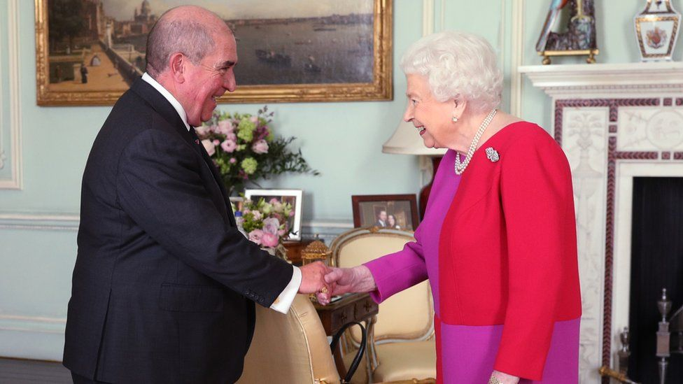 receives Professor Mark Compton, Lord Prior of the Order of St John, during an audience, where he presented Her Majesty with the Orders first ever Service Medal in Gold, at Buckingham Palace