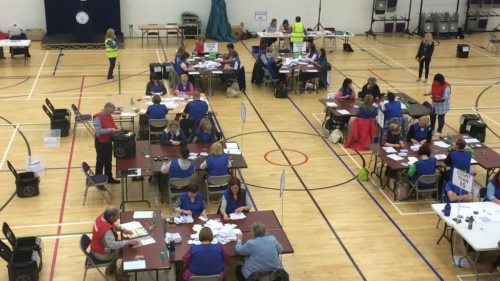 The count centre in Omagh, County Tyrone