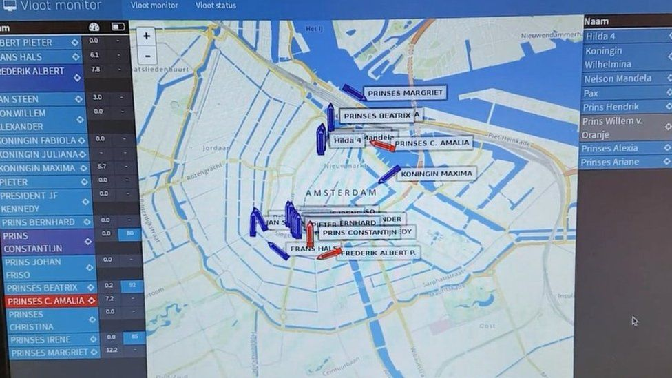 Map of boats on Amsterdam canals