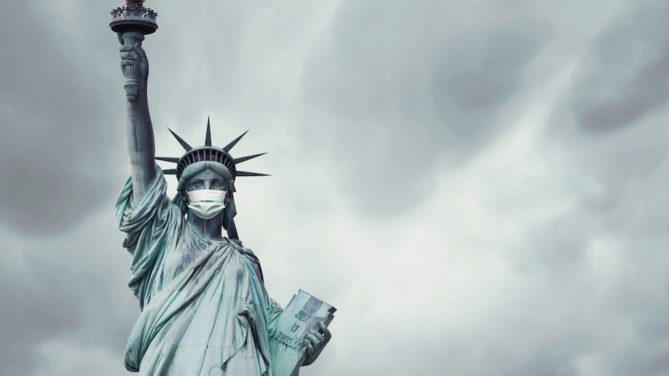 Statue of Liberty with a mask