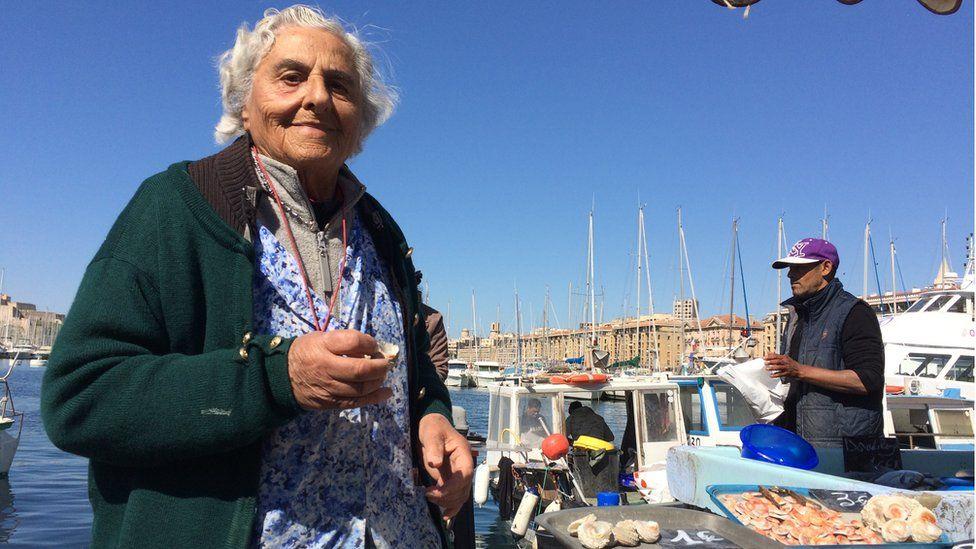 Eighty-five year old Anna at Marseille fish market
