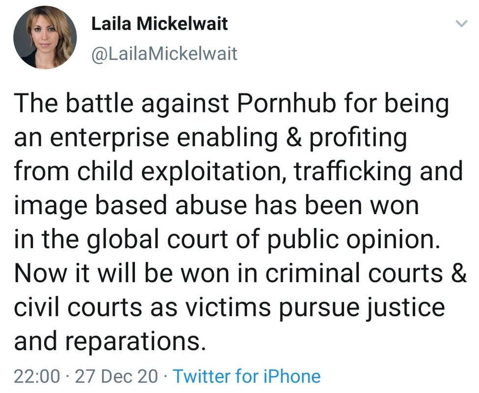 Laila Mickelwait, founder of the Traffickinghub campaign, calls for Pornhub to be shut down