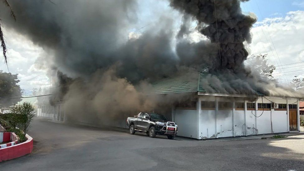 A building burns as fresh protests break out in Wamena on September 23, 2019