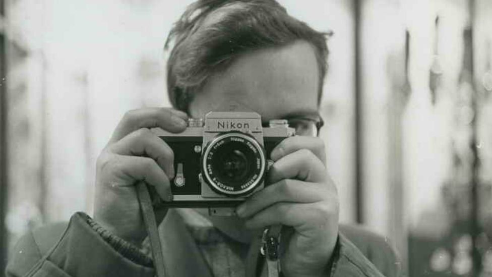 Robert Blomfield taking a picture of himself.