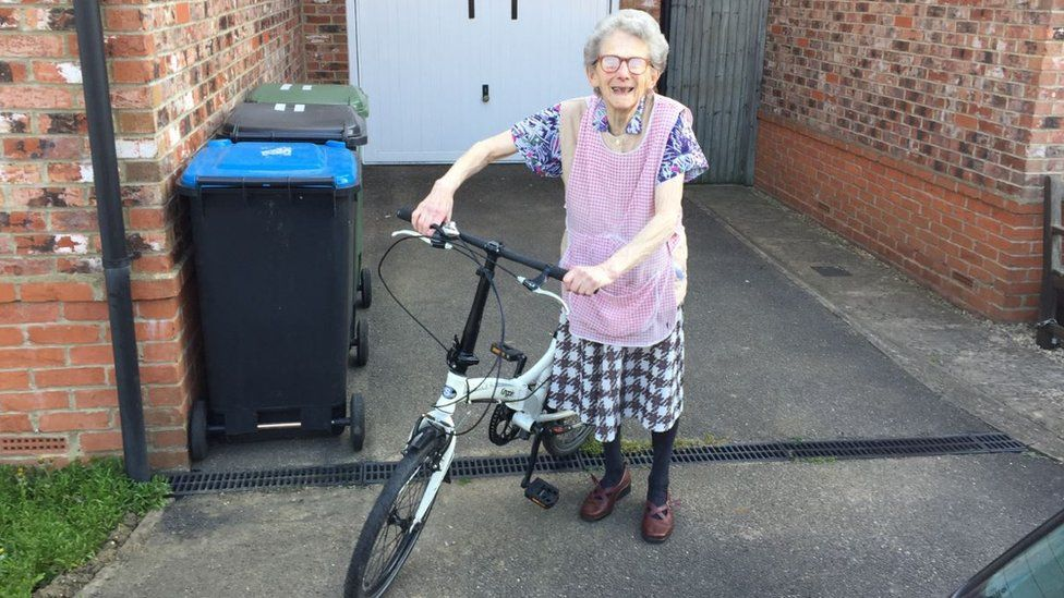 Mary Hampton and her bicycle