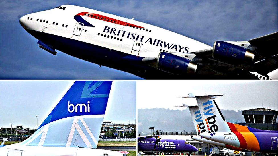 BA, BMI and FlyBe planes
