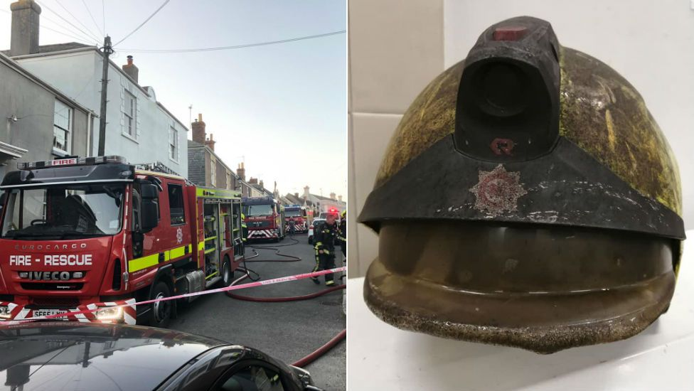Modbuy fire scene (pic: BBC) and melted firefighter helmet (pic: Devon and Somerset Fire and Rescue Service)
