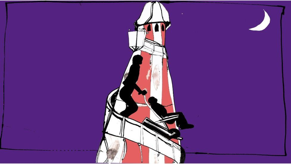Illustration of an evacuation chair being taken down a helter skelter