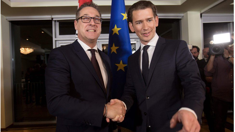 Sebastian Kurz and Heinz-Christian Strache shake hands and smile for the cameras at their joint press conference in Vienna