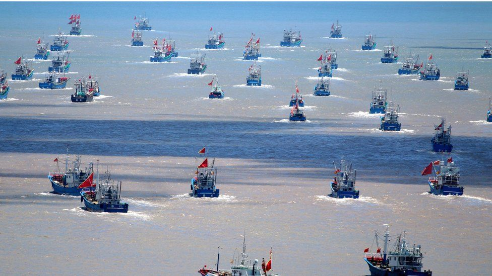 Chinese fishing vessels going out to sea