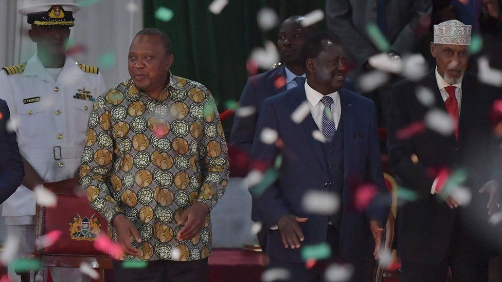 President Uhuru Kenyatta (front left) and Raila Odinga (front centre) at the launching of the BBI report - November 2019