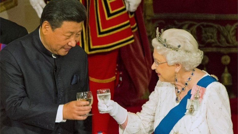 Chinese President Xi Jinping with Queen Elizabeth II
