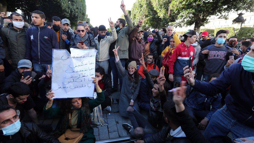 Demonstration in Tunis, Tunisia - 19 January 2021