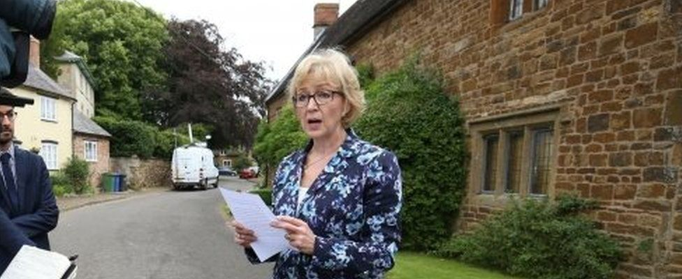 Andrea Leadsom giving a statement outside her house
