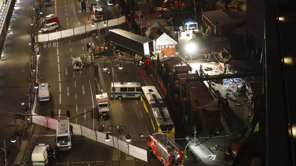 Authorities inspecting a truck that had sped into a Christmas market in Berlin on 19 December 2016
