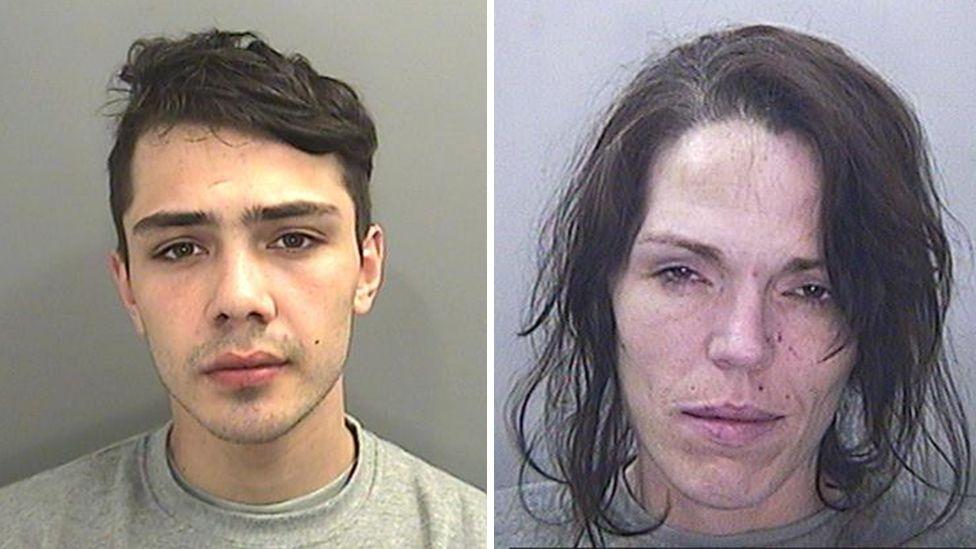 Kalib Facey (right) and Philomena McDonagh police mugshots
