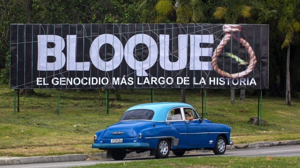 """Blockade, the longest genocide in history,"" reads a billboard in Havana - 27 Oct 15"