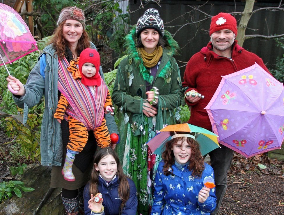 Kath Rosen with her family and Brockwell Park's wassail leader, Ella Hashemi