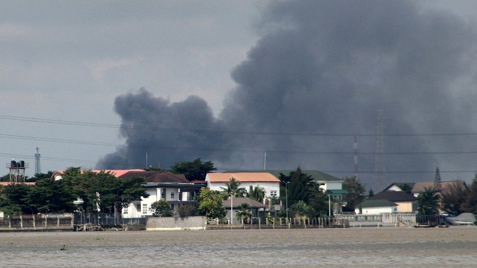 Smoke rises from Lagos mainland, Nigeria, October 21, 2020
