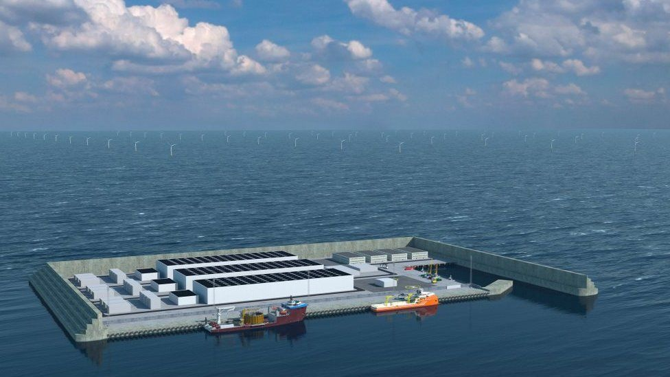 Illustration of the world's first energy island with rows of turbines in the sea