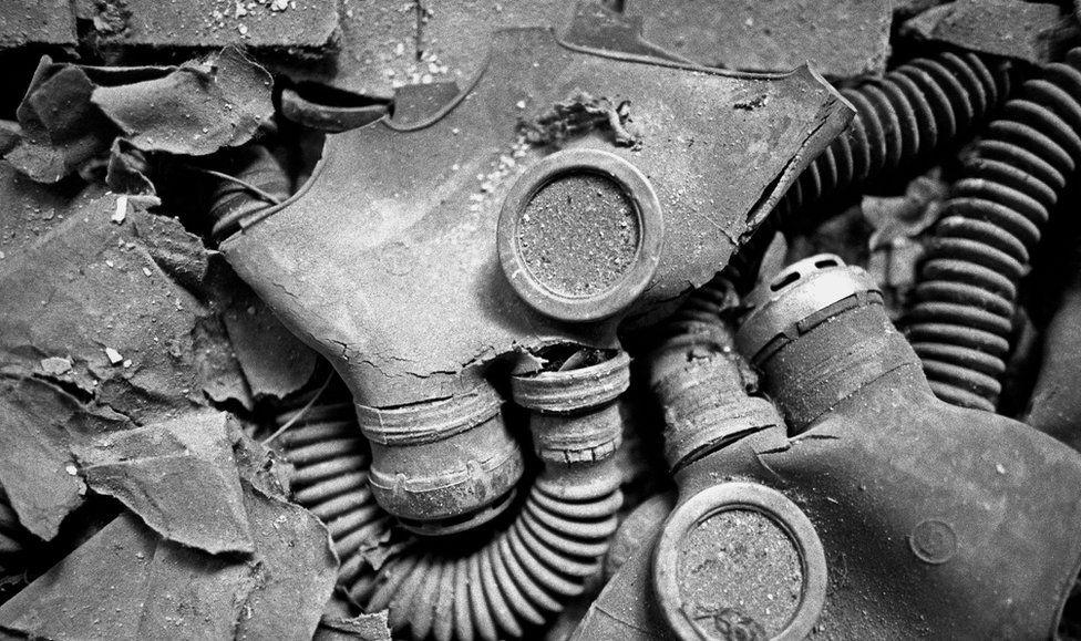 Gas masks abandoned in Pripyat