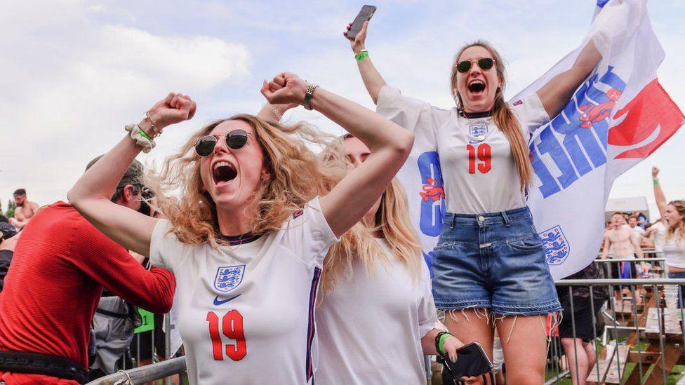 England fans celebrating during Germany game